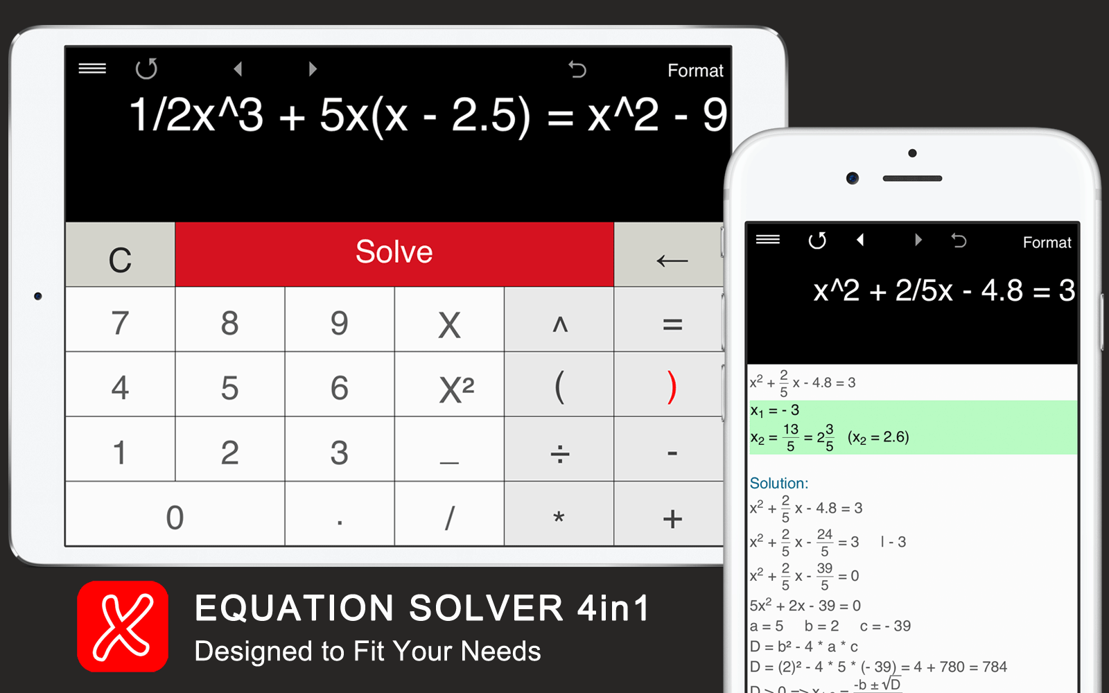 Equation Solver - solve linear,quadratic,cubic and quartic equations